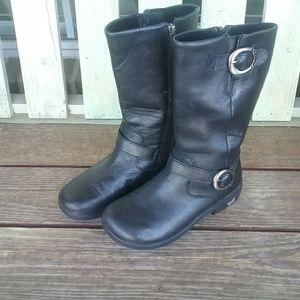 Shoes - Algeria Combat Moto Black Leather Mid Calf Boots